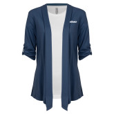 Ladies Navy Drape Front Cardigan-PrimeSource