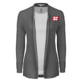 Ladies Heather Grey Open Front Cardigan-Grip-Rite
