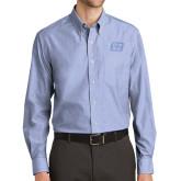 Mens Light Blue Crosshatch Poplin Long Sleeve Shirt-Grip-Rite