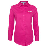 Ladies Tropical Pink Long Sleeve Twill Shirt-Grip-Rite