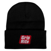Black Knit Beanie w/Cuff-Grip-Rite