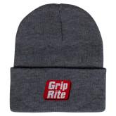Grey Knit Beanie w/Cuff-Grip-Rite
