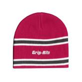 Pink/Charcoal/White Striped Knit Beanie-Grip-Rite