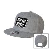 Heather Grey Wool Blend Flat Bill Snapback Hat-Grip-Rite