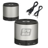 Wireless HD Bluetooth Silver Round Speaker-Grip-Rite  Engraved