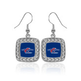 Crystal Studded Square Pendant Silver Dangle Earrings-Penn Relays 2018 Logo