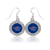 Crystal Studded Round Pendant Silver Dangle Earrings-Penn Relays 2018 Logo