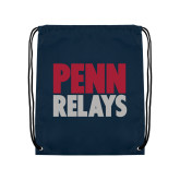 Navy Drawstring Backpack-Penn Relays Stacked