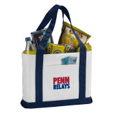 Contender White/Navy Canvas Tote-Penn Relays Stacked