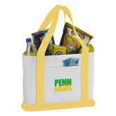 Contender White/Gold Canvas Tote-Penn Relays Stacked - Jamaica Colors