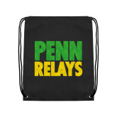 Black Drawstring Backpack-Penn Relays Stacked - Jamaica Colors