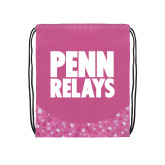 Nylon Pink Bubble Patterned Drawstring Backpack-Penn Relays Stacked