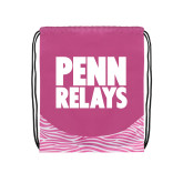 Nylon Zebra Pink/White Patterned Drawstring Backpack-Penn Relays Stacked