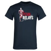 Navy T Shirt-Sketched Runner