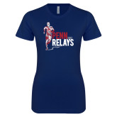 Next Level Ladies SoftStyle Junior Fitted Navy Tee-Sketched Runner