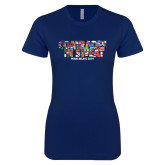 Next Level Ladies SoftStyle Junior Fitted Navy Tee-Comrades In Sweat - World Flags
