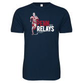 Next Level SoftStyle Navy T Shirt-Sketched Runner