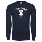Navy Long Sleeve T Shirt-Penn Relays w/ Liberty Bell Script