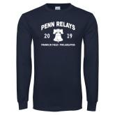 Navy Long Sleeve T Shirt-Penn Relays w/ Liberty Bell