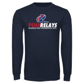Navy Long Sleeve T Shirt-Penn Relays Franklin Field Stacked