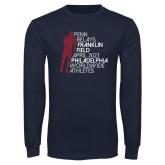 Navy Long Sleeve T Shirt-Lineed Runner