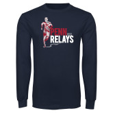 Navy Long Sleeve T Shirt-Sketched Runner
