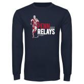 Navy Long Sleeve T Shirt-Sketched Runner