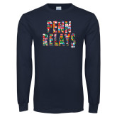 Navy Long Sleeve T Shirt-World Flags Penn Relays