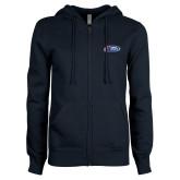 ENZA Ladies Navy Fleece Full Zip Hoodie-Penn Relays Logo