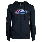 ENZA Ladies Navy Fleece Full Zip Hoodie-Penn Relays 2018 Logo