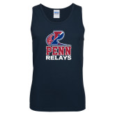 Navy Tank Top-Penn Relays Stacked w Logo Distressed