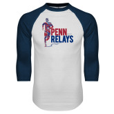 White/Navy Raglan Baseball T-Shirt-Sketched Runner