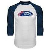 White/Navy Raglan Baseball T Shirt-Penn Relays 2018 Logo