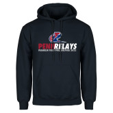 Navy Fleece Hoodie-Penn Relays Franklin Field 2018 Stacked