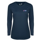 Ladies Syntrel Performance Navy Longsleeve Shirt-Penn Relays 2018 Logo