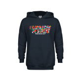 Youth Navy Fleece Hoodie-Comrades In Sweat - World Flags