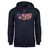 Navy Fleece Full Zip Hoodie-Comrades In Sweat - USA Flag