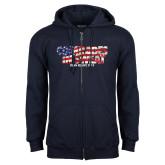 Navy Fleece Full Zip Hoodie-Comrades In Sweat - USA Flag