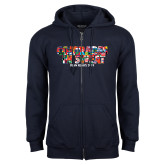 Navy Fleece Full Zip Hoodie-Comrades In Sweat - World Flags