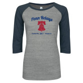 ENZA Ladies Athletic Heather/Navy Vintage Triblend Baseball Tee-Penn Relays w/ Liberty Bell Script