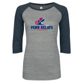 ENZA Ladies Athletic Heather/Navy Vintage Triblend Baseball Tee-Penn Relays Philadelphia Scripted