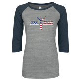 ENZA Ladies Athletic Heather/Navy Vintage Triblend Baseball Tee-Penn Relays USA