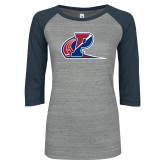 ENZA Ladies Athletic Heather/Navy Vintage Triblend Baseball Tee-Penn Relays