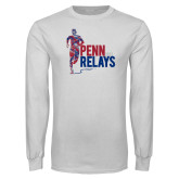 White Long Sleeve T Shirt-Sketched Runner