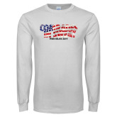 White Long Sleeve T Shirt-Comrades In Sweat - USA Flag