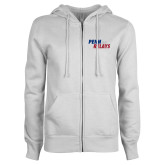 ENZA Ladies White Fleece Full Zip Hoodie-Penn Relays 2017 Step Stack