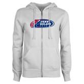 ENZA Ladies White Fleece Full Zip Hoodie-Penn Relays 2018 Logo