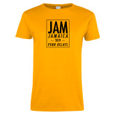 Ladies Gold T Shirt-Jam Penn Relays In Box