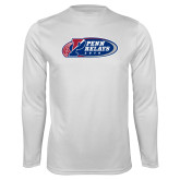Syntrel Performance White Longsleeve Shirt-Penn Relays 2018 Logo