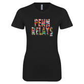 Next Level Ladies SoftStyle Junior Fitted Black Tee-World Flags Penn Relays
